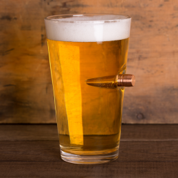 Beer glass with original BMG shell caliber .50